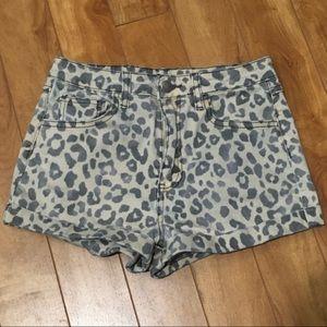 Forever 21 leopard print denim shorts